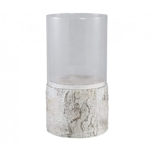 'Ciara Tree Trunk' Candle Holder range, made from Cement with a Glass vase; finished in White. By PTMD Collection®