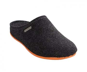 'Cilla' 100% Wool Slippers in Black/Orange. By Shepherd of Sweden