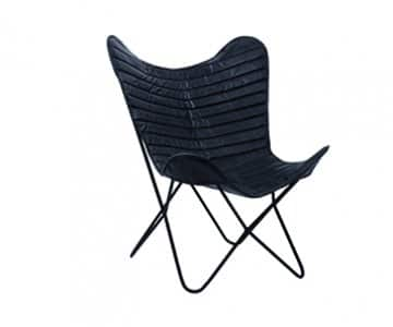 'City' Butterfly Chair, Leather & Metal, finished in Black. By PTMD Collection®