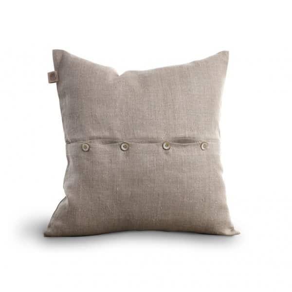'Classic' Linen Cushion with buttons, with a Duck down filling (optional), presented in Natural. By Lovely Linen of Sweden