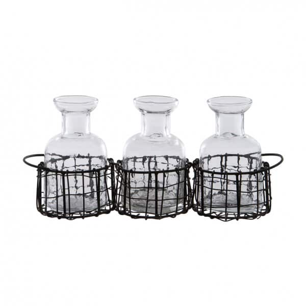 Clear Glass Bottles (set of 3) presented in a Black Wire Basket. By London Ornaments