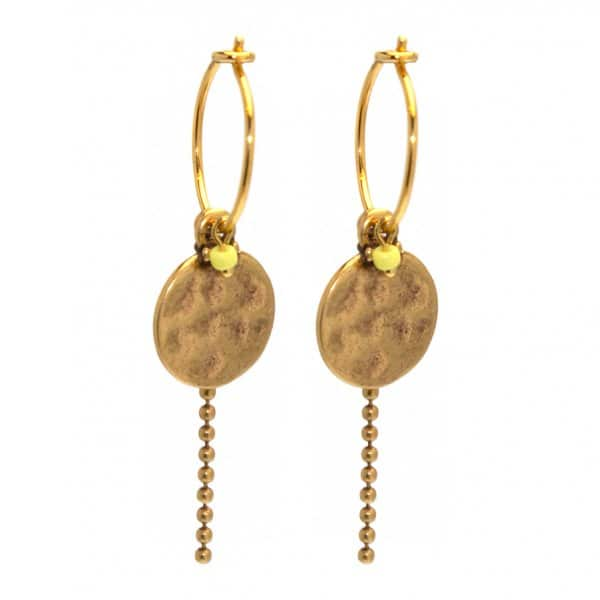 'Coin Hook' hoop Earrings, with yellow bead, and Gold chain pendant. By Hultquist of Copenhagen