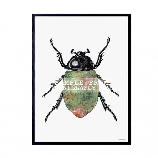 'Coloured Beetle' Art Print, mounted in a Black frame, by Vanilla Fly of Denmark