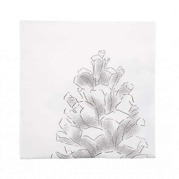 'Cone' Christmas Napkins (pack of 40), with Pine Cone print. By House Doctor
