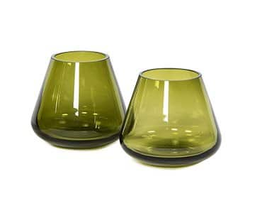 Conical Votive, beautifully crafted from mouth-blown Glass, and presented in Olive. By Dekocandle of Belgium