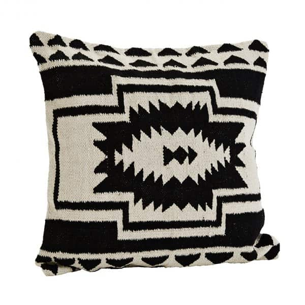 Contemporary 'Black / Off White' coloured Pure Cotton Cushion with Duck Feather Filling. By Madam Stoltz