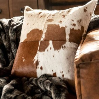 'Cow' Cushion, Faux Leather, Brown / White (42cm SQ)
