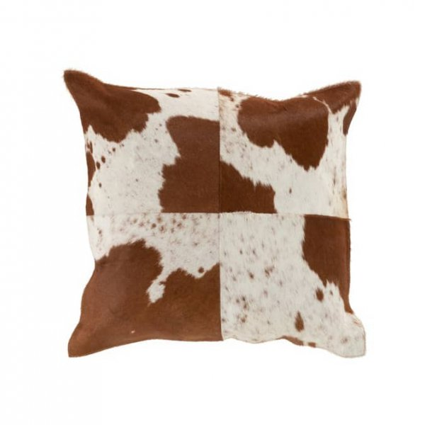 Cushion, made from Faux Leather, and presented with a Brown / White 'Cow' pattern. From J-Line by JOLIPA