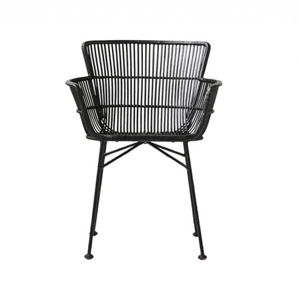 'Cuun' Dining Chair, made from Rattan & Iron, and beautifully presented in Black. By House Doctor