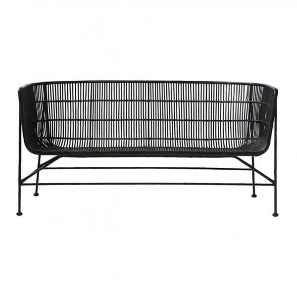 'Cuun' lounge Sofa, made from Rattan & Iron, beautifully presented in Black. By House Doctor