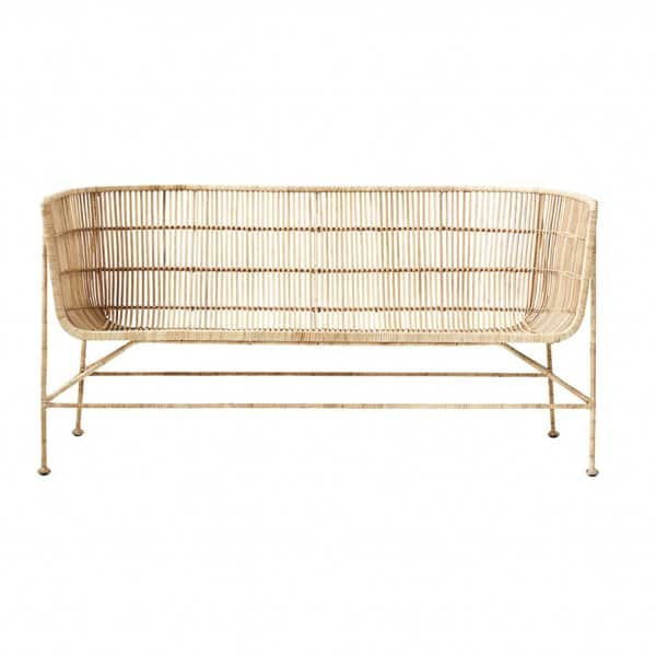 'Cuun' lounge Sofa, made from Rattan & Iron, beautifully presented in Natural. By House Doctor