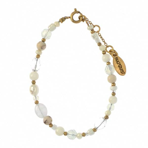 'Dalia' Bracelet with gold plated brass balls, semi-precious stones, and white freshwater pearls. By Hultquist of Copenhagen