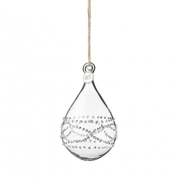 'Deandra' hanging Christmas bauble, made from Glass with fine dots, by Lene Bjerre of Denmark