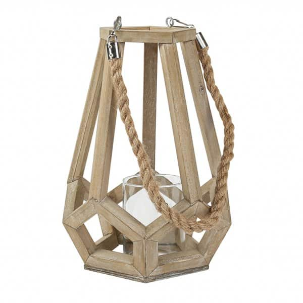 'Denver' Wooden Candle Lantern with Rope carry handle & Glass candle holder. By PTMD Collection®