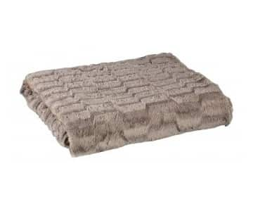 'Denzy' Blanket made from Faux Fur, in Taupe (colour), with wave pattern. By PTMD Collection®