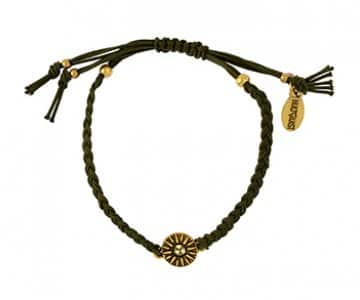 'Dia' Bracelet with Gold balls and a Silver disc, with Jonquil crystals, on a Khaki cord. By Hultquist of Copenhagen