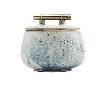 'Diva' Stoneware Pot, with lid and a Brass handle, with Blue & Grey nuances and a Glaze finish. By House Doctor
