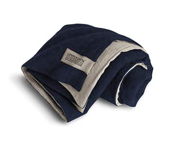 Double Blanket made from high quality Wool (outside) & finely woven Linen (inside), in Midnight Blue. By Lovely Linen