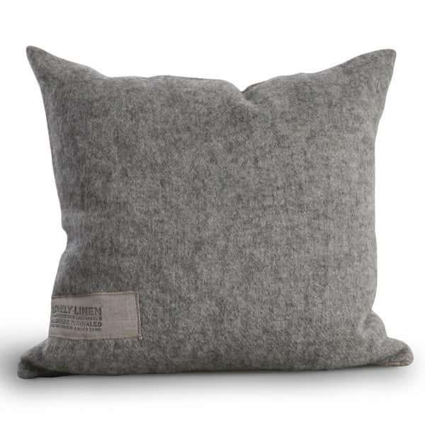 'Double Cushion' made of 100% linen and finest wool, in Grey. By Lovely Linen of Sweden