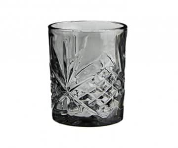 Drinking Glass (Grey Glass) with cut glass pattern. By Madam Stoltz of Denmark