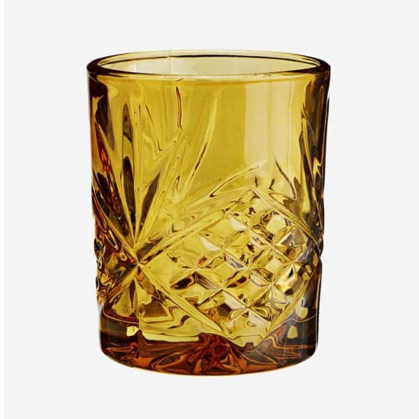 Drinking Glass with cut glass pattern, in Amber. By Madam Stoltz of Denmark