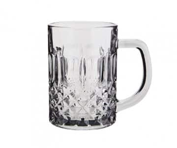 Drinking Glass with handle & cut glass pattern, in Grey. By Madam Stoltz of Denmark