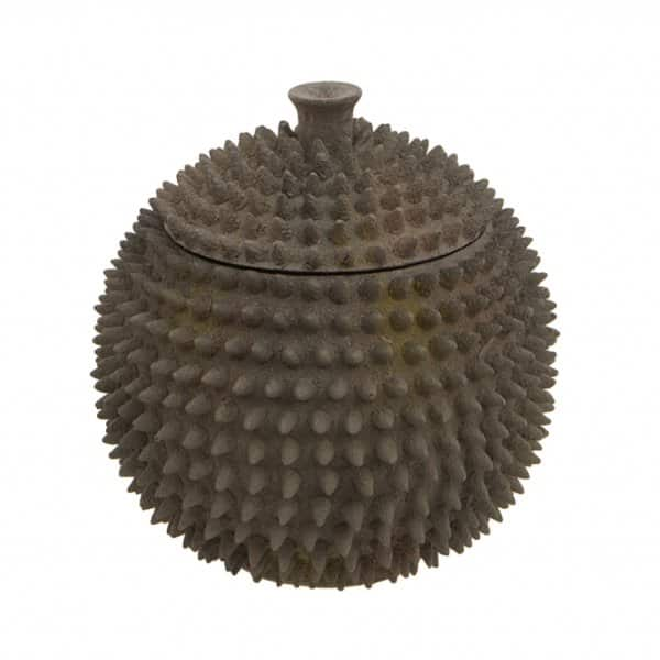 'Durian' Spiky Pot, with Lid, presented in Rustic Brown. By London Ornaments.
