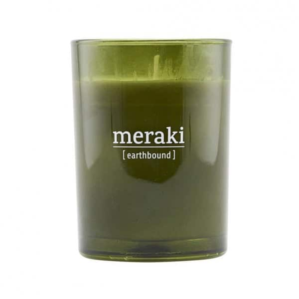 'Earthbound' Scented Candle, in coloured Glass, and presented in a branded Tin. By Meraki of Denmark