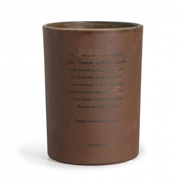 Elegant 'Feu Sacré 100% Soy Wax scented candle in a Brown coated glass pot. ByON of Sweden.