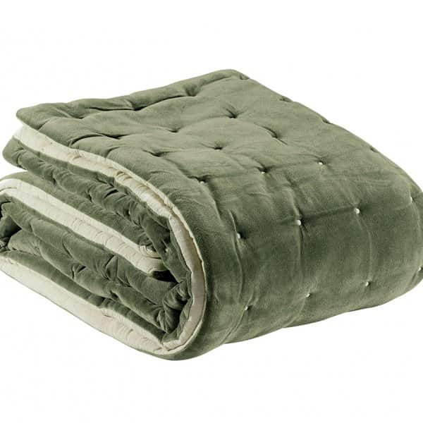 'Elise' Bed Runner, made from 100% Cotton, presented in Sage. By Vivaraise of France