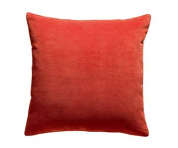 'Elise' Cushion range, made from 100% Cotton Velvet , presented in Marmalade. By Vivaraise of France