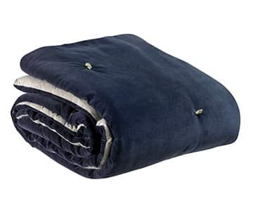 'Elise' Knotted Throw, made from 100% Cotton and hand quilted, and presented in Cobalt. By Vivaraise of France