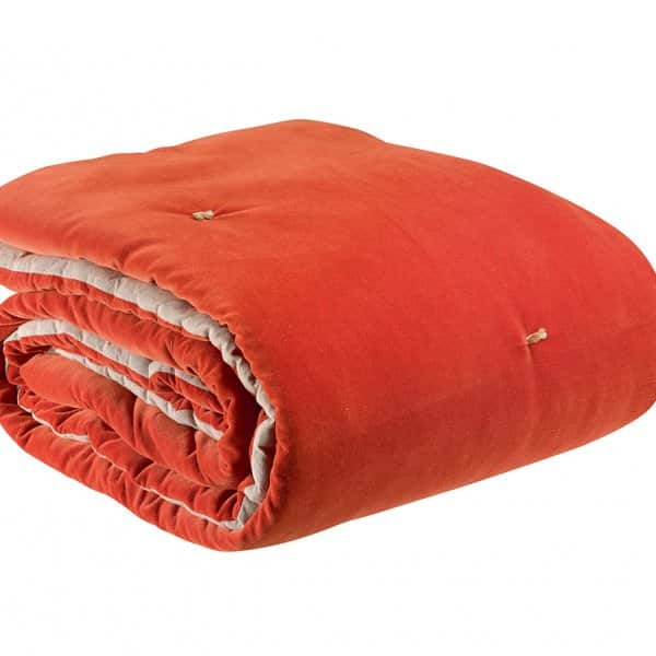 'Elise' Knotted Throw, made from 100% Cotton and hand quilted, and presented in Marmalade. By Vivaraise of France