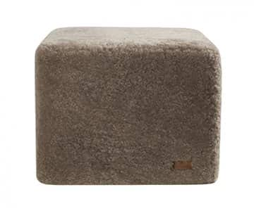 'Emma' - 100% Sheepskin Pouffe, Square, in Stone (colour). By Shepherd of Sweden.