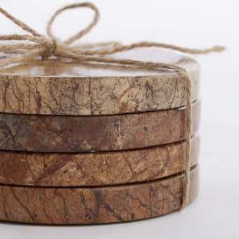 Beautiful 'Estille' Coasters Marble Coasters (S/4), Natural / Brown (10cm)