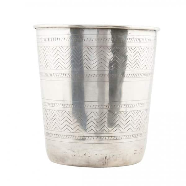 'Ethnic' Flower Pot, made from Brass, and presented in Silver. By House Doctor of Denmark
