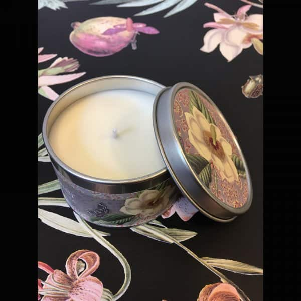 'Evening Flower' scented Candle, made from 100% Soy wax, beautifully presented in a tin. By Vanilla Fly of Denmark