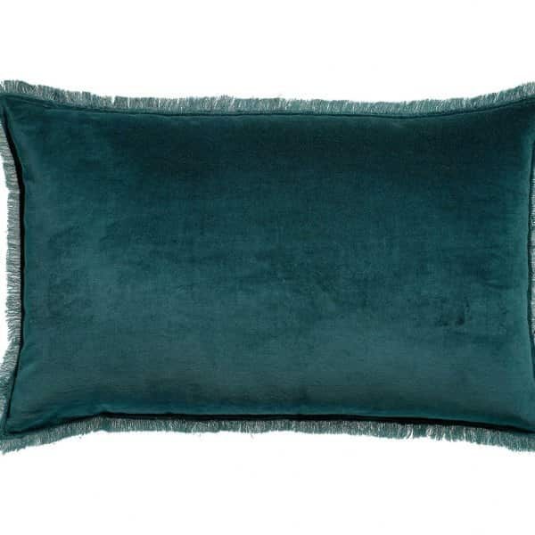 'Fara' Cushion, made from 100% Cotton Velvet with Fringe finish, presented in Paon. By Vivaraise of France