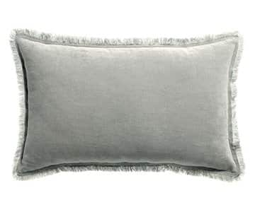 'Fara' Cushion, made from 100% Cotton Velvet with Fringe finish, presented in Pearl. By Vivaraise of France