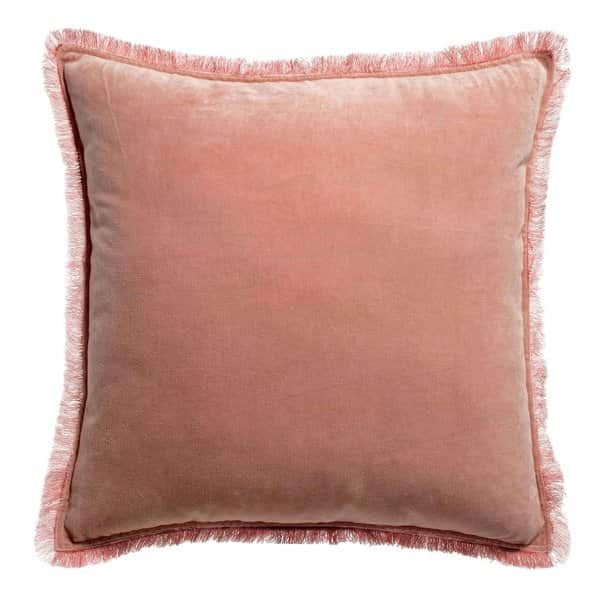 'Fara' Cushion, made from 100% Cotton Velvet with Fringe finish, presented in Pink. By Vivaraise of France