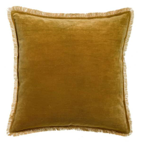 'Fara' Cushion range, made from 100% Cotton Velvet with Fringe finish, presented in Bronze. By Vivaraise of France