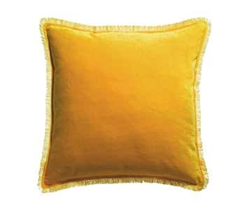'Fara' Cushion range, made from 100% Cotton Velvet with Fringe finish, presented in Curry. By Vivaraise of France
