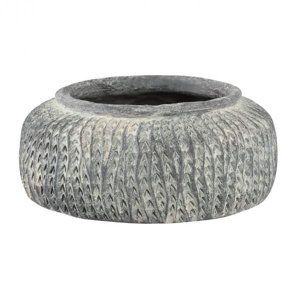 'Farmer' Pot made from Cement, in Grey, and with a Snake pattern finish. By PTMD Collection®