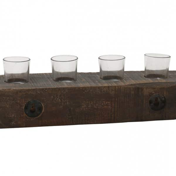 'Farrin' solid Wooden Block Tea Light Holder, with 4 clear Glass votives for Candles. PTMD Collection®.