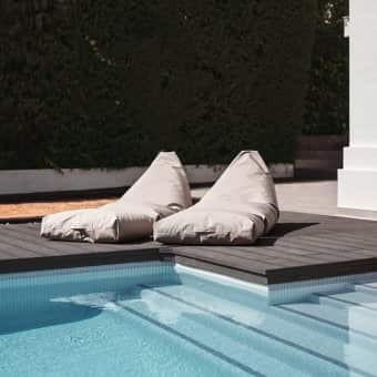'Felix Lounger' beanbag, made from Sunbrella Plus® Coated canvas, available in 4 colours (140 × 85 × 65cm)