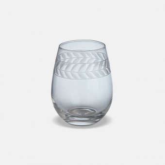 'Feugera' Tumbler (S/4), Clear Glass, Patterned (H:12cmx9cm)
