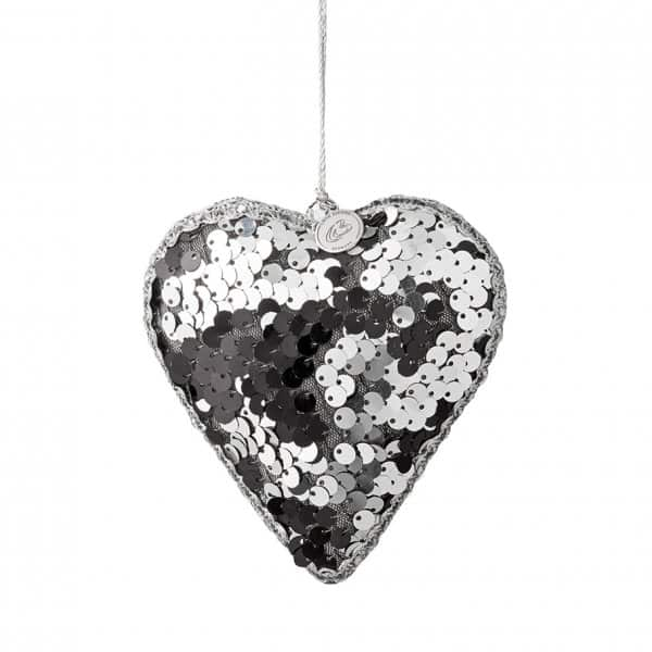 'Fidelle' hanging Heart Christmas ornament, decorated with Silver sequins, by Lene Bjerre of Denmark