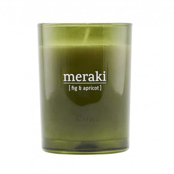 'Fig & Apricot' Scented Candle, in coloured Glass, and presented in a branded Tin. By Meraki of Denmark