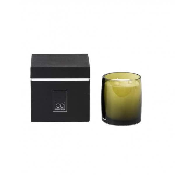 'Fleur de Lotus' scented candle in an Olive Green votive, presented in a beautiful black gift box. By Dekocandle of Belgium