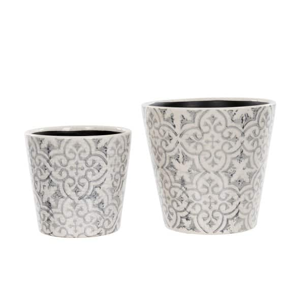 Floral Pots (set of 2), made from Ceramic and hand painted, in Grey with a Floral pattern. By London Ornaments